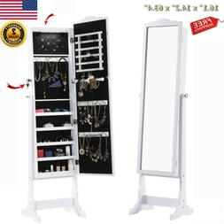 Lockable Free-Standing Mirrored Jewelry Armoire Lights Cabin