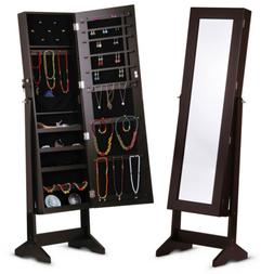 LANGRIA Lockable Mirrored Jewelry Cabinet Armoire Organizer