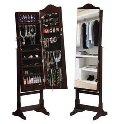 LANGRIA Full-Length Lockable Standing Jewelry Cabinet Armoir