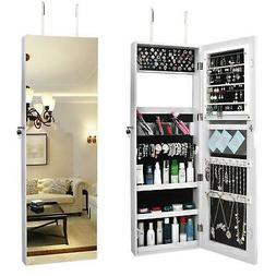 Lockable Mirror Jewelry Cabinet Armoire Makeup Storage Box w