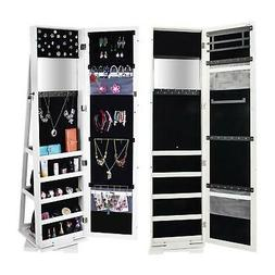 Lockable Mirrored Adjustable Jewelry Cabinet Armoire Organiz