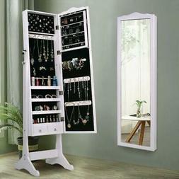 Lockable Mirror Jewelry Cabinet Dressing Armoire Mirror Orga