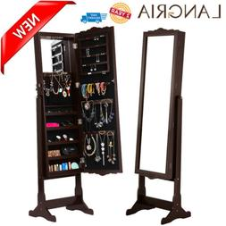 LANGRIA Lockable Mirrored Jewelry Cabinet Armoire Mirror Org