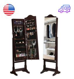 Lockable Standing Jewelry Cabinet Armoire With Full-Length M