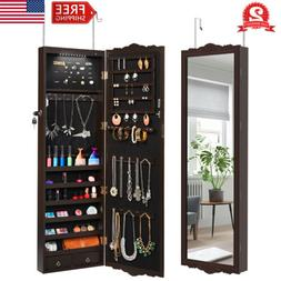 Lockable Wall Mounted Mirror Jewelry Cabinet Armoire LED Lig