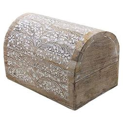 Mango Wood Jewelry Storage Boxes Hand Carved with Floral Mot