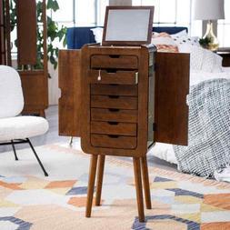 Mid Century Modern Wood Jewelry Armoire Cabinet Freestanding
