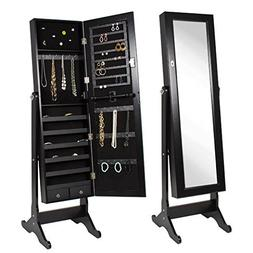 BTExpert Premium Wooden Jewelry Armoire Cabinet Floor Stand