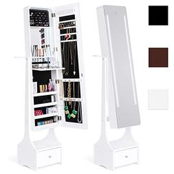 Best Choice Products Full Length LED Mirror Jewelry Storage