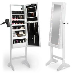 Beautify Mirrored Jewelry Makeup Armoire with LED Lights Flo