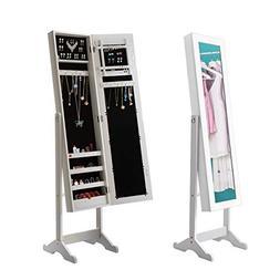 Giantex Jewelry Armoire Cabinet Organizer Storage Mirrored S