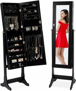 "Mirrored Jewelry Cabinet Armoire, Black - 10""x 43"" Mirror -"