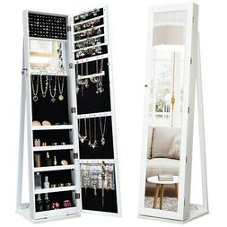 Mirrored Jewelry Cabinet Armoire Lockable Standing Storage O