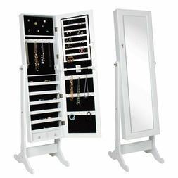 "Mirrored Jewelry Cabinet Armoire, White - 10""x 43"" Mirror -"
