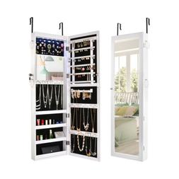 Mirrored Jewelry Cabinet Lockable Armoire Organizer Wall Doo