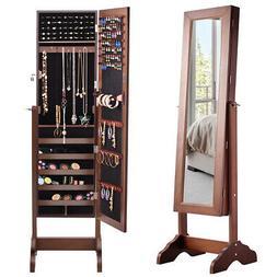 Mirrored Jewelry Cabinet  w/ Stand Armoire Storage Organizer