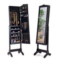 Mirrored Lockable Jewelry Cabinet Armoire Makeup Organizer S