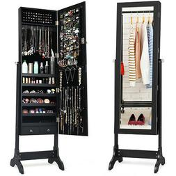 Mirrored Jewelry Cabinet Armoire Storage Organizer Box Stand
