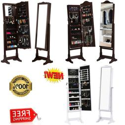 Mirrored Lockable Standing Jewelry Cabinet Armoire Storage O