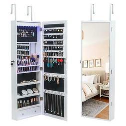 Mirrored Wall Door Mounted Jewelry Cabinet Organizer Storage