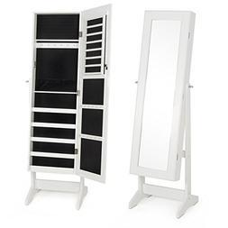 Belleze Mirrored White Jewelry Cabinet Mirror Organizer Armo