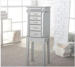 Modern Glam Silver Wood Freestanding Jewelry Armoire Storage