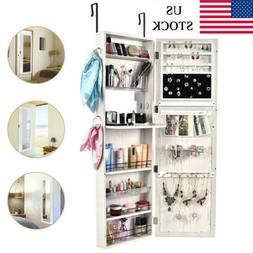 Over the Door/Wall Mount Mirrored Jewelry Armoire Cabinet St
