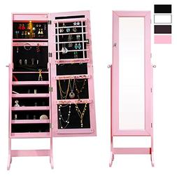 Cloud Mountain Pink Jewelry Armoire Mirrored Jewelry Cabinet