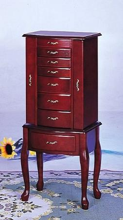 Queen Anne Style Cherry Finish Jewelry Armoire w/Many Storag
