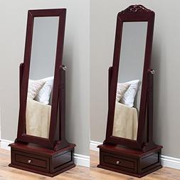Belham Living Removable Decorative Top Cheval Mirror - Cherr