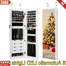 Wall/ Door Mounted Jewelry Armoire Lockable Cabinet Organize