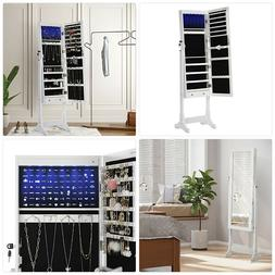 SONGMICS 6 LEDs Cabinet Lockable Standing Mirrored Jewelry A