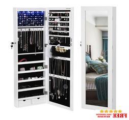 SONGMICS 6 LEDs Jewelry Cabinet Lockable Wall Door Mounted J
