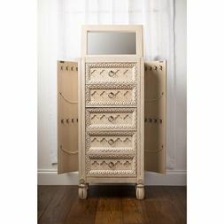 Bedroom Jewelry Armoire Storage Drawer Cabinet Tilting Mirro
