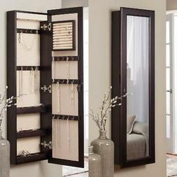 Traditional Lighted Wall Mount Locking Jewelry Hook Armoire