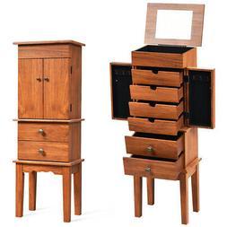 Vintage Jewelry Armoire Cabinet Chest Big Storage Box Organi