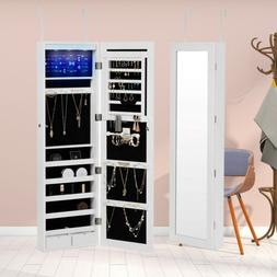 Wall Door Mounted LED Mirrored Jewelry Cabinet Armoire Stora