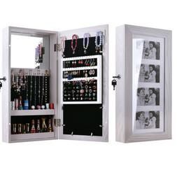 Wall Mounted Jewelry Cabinet Mirrored Armoire Makeup Storage