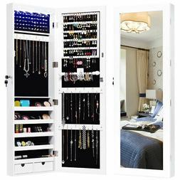Wall Mounted Mirrored Jewelry Cabinet Armoire Organizer Lock