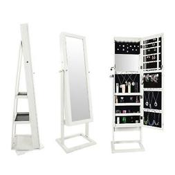 White Dressing Mirror Jewelry Cabinet Armoire Organizer Stor