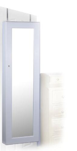 White Finish WallDoor Mount Jewelry Armoire Cabinet - Rings,