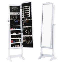 Free Standing Jewelry Cabinet Full-Length Mirrored Armoire O