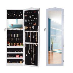 Wall Door Mount Mirror Jewelry Armoire Cabinet Accessory Sto