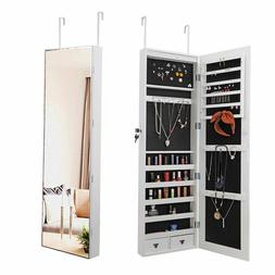 White Wall Door Mounted Jewelry Mirror Cabinet Lockable Armo