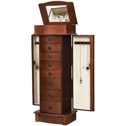 Wood Armoire Storage Chest Box Stand Jewelry Cabinet Necklac