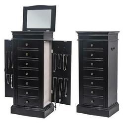 Wood Jewelry Cabinet Armoire Box Large Storage Space Chest S