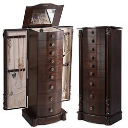 Wood Jewelry Cabinet Armoire Box Storage Chest Stand Organiz