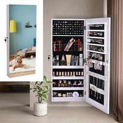 Wood Jewelry Mirror Cabinet Armoire Cosmetic Box Wall Hangin