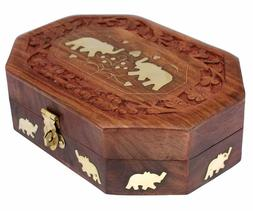 Wooden Jewellery Box Octagonal Handcrafted Elephant Brass In
