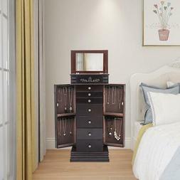 Wooden Jewelry Armoire Box Organizer Storage Drawer Cabinet+